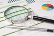 canvas print picture - Magnifying glass on charts graphs paper. Financial development, Banking Account, Statistics, Investment Analytic research data economy, Stock exchange trading, Business office company meeting concept.