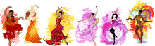Set Of Colorful Sketches With Flamenco, Indian, Oriental, Cancan, Samba And Contemporary Dancers