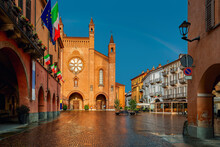 San Lorenzo Cathedral On Cobblestone Town Square In Alba, Northern Italy.