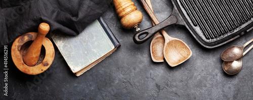 Obraz Cooking utensils, ingredients and cookbook - fototapety do salonu