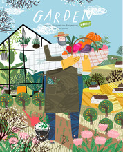 Garden And Gardener. Vector Illustration Of A Male Farmer Growing Plants And Harvesting Crops On The Farm Among The Field, Landscape And Greenhouse. Drawing For Poster Or Postcard