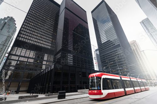 Fototapeta premium Tramstreetcar in Toronto, Ontario, Canada