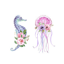 Set Of Watercolor Illustrations Blue Seahorse And Pink Jellyfish With Delicate Bouquet Of Flowers. Nautical Style Hand Painted