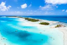 Aerial View Of The Blue Lagoon On Rangiroa, Tuamotu Archipelago, French Polynesia