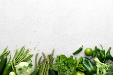 Green Vegetables. Fresh Green Produce. Healthy Vegetarian Food Concept Background. Flat Lay. Top Down View