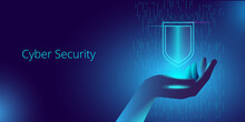 A Hand In Neon Light Holds A Levitating Virtual Shield. Template For A Horizontal Vector Banner On The Topic Of Cybersecurity.