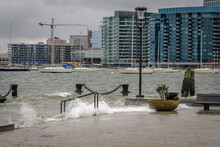 Waves Churned Up By A Storm Crash Against Long Wharf In Boston