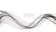 Abstract Smooth Gray Wave Vector. Curve Flow Grey Motion Illustration. Gray Smoke Wavy Lines.