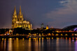 Germany, North Rhine-Westphalia, Cologne. Saint Peter Cathedral at night (UNESCO World Heritage Site).