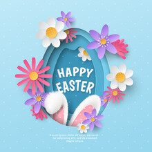 Vector Festive Banner With Layered Cutout Paper Egg, Realistic 3D Fur Ears Of Bunny And Spring Flowers On Blue Polka Dot Background. Childish Holiday Layout With Text Happy Easter For Greeting Card.