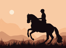 A Rider Gallops In A Field, A Dark Silhouette Against The Sky,