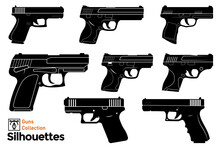Isolated Silhouettes Of Firearms. Guns Illustration.