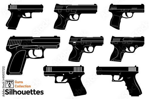 Fotografering Isolated silhouettes of firearms. Guns illustration.
