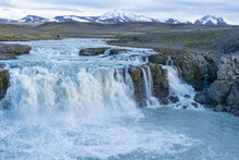 Iceland, Southern Highlands, Gygjarfoss Waterfall. This Small Waterfall Flowing Through A Rather Barren Landscape.