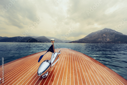 Canvas Print Classic Boat on the como lake