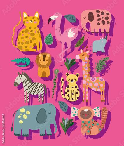 Fototapeta premium jungle animals cartoon cute elephant leopard giraffe zebra abstract style
