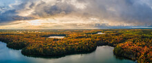 Spectacular Autumn Sunset Over Pete's Lake Campground In The Hiawatha National Forest – Michigan Upper Peninsula – Aerial View