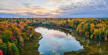 Magnificent Autumn Sunset Over Snipe Lake In The Hiawatha National Forest – Michigan Upper Peninsula – Aerial View