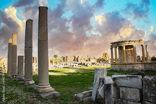 Old ruins in Side, Turkey - archaeology background Fototapeta