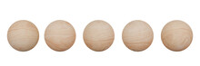 3D Rendering. Set Of Wood Sphere Isolated On White Background With Clipping Path.