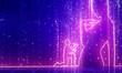 Leinwandbild Motiv Silhouette of man in prayer pose. Man asking woman to marry him. Thin line style. 3D rendering. Neon shine