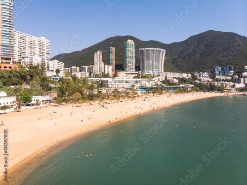 Obraz na plátně Aerial view of the famous Repulse bay sandy beach and skyline in Hong Kong islan