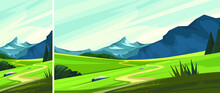 Mountain Landscape With Road Set Beautiful Non Urban Scenes Vertical Horizontal Orientation