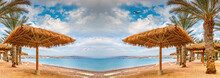 Panoramic Digital Composite Image Illustrating Cloudy Morning And Vacation Dreams And Resting Atmosphere At A Sandy Beach On The Red Sea, Middle East