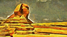 Great Sphinx In The Sandy Desert. Sculptures Of Ancient Egypt