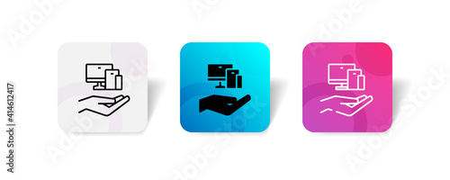 Fototapeta pixel perfect electronic device care assurance icon set in line, solid, glyph, 3d gradient style obraz