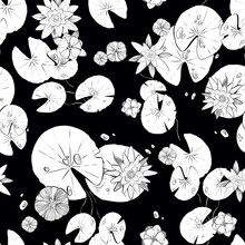 Seamless Floral Pattern. Lily Flowers And Dragonflies. Design For Fabric, Textile, Packaging And Wallpaper