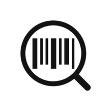 Search Barcode Flat Icon Isolated On White Background. Magnifying Glass Searching Barcode.