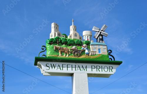 Tablou Canvas Attractive village sign in Swaffham Prior, Cambridgeshire, England, UK