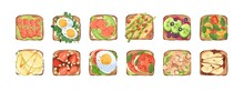 Set Of Toasts And Sandwiches With Different Healthy Ingredients. Slices Of Bread With Eggs, Avocado, Champignons, Vegetables, Chocolate Pasta And Bananas. Flat Vector Illustration Isolated On White