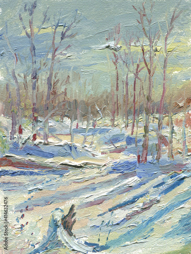 Fototapety, obrazy: winter forest sunny day painting