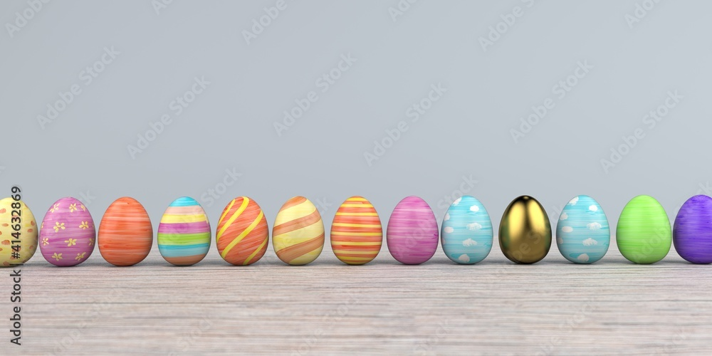 Fototapeta Colored easter eggs on the wooden background. 3d illustration.