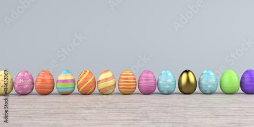 Fototapeta Colored easter eggs on the wooden background. 3d illustration. obraz