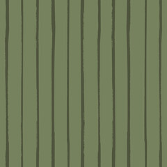 Painterly sage green stripe vector seamless pattern background. Single line brush stroke style striped monochrome brown backdrop. Linear geometric vertical design. All over print for wellness