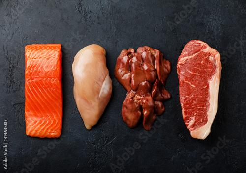 Obraz na płótnie Raw food selection for Carnivore diet Salmon fish Steak, Chicken meat, Chicken l