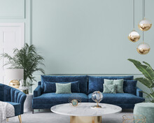 Home Interior Mockup With Blue Sofa, Marble Table And Tiffany Blue Wall Decor In Living Room, 3d Render