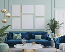 Frame Mockup In Home Interior With Blue Sofa, Marble Table And Tiffany Blue Wall Decor In Living Room, 3d Render