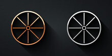 Gold And Silver Bicycle Wheel Icon Isolated On Black Background. Bike Race. Extreme Sport. Sport Equipment. Long Shadow Style. Vector.