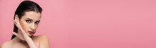 Young Sensual Woman With Makeup And Bare Shoulders Isolated On Pink, Banner