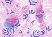 Vector Seamless Tropical Monstera And Blooming Flowers Pattern In Pink And Blue Vintage Colors. Hand Drawn  Design For Fashion Fabrics, Wrapping Paper, Surface Design, Wallapaper, Packaging, Prints