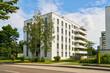 Leinwandbild Motiv Wohnsiedlung mit Mehrfamilienhäusern in der Stadt