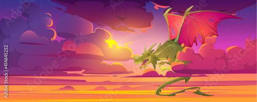 Fotografie, Obraz Dragon in cloudy sky, fantastic character, magic creature flying in dusk heaven