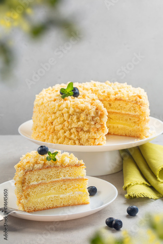Canvas Print Traditional Italian sponge cake - Mimosa cake, usually eaten during the March 8th for Women's Day