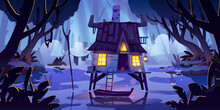 Stilt House In Swamp With Boat At Night. Marsh Landscape With Old Hut In Moonlight. Vector Cartoon Illustration Of Wooden House With Glow Windows In Wild Rain Forest With Lake, Pond Or Bog