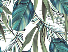 Colourful Seamless Pattern With Tropic Flowers And Leaves.