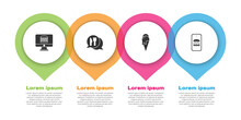 Set Online Ordering And Delivery, Cafe Restaurant Location, Ice Cream And . Business Infographic Template. Vector.